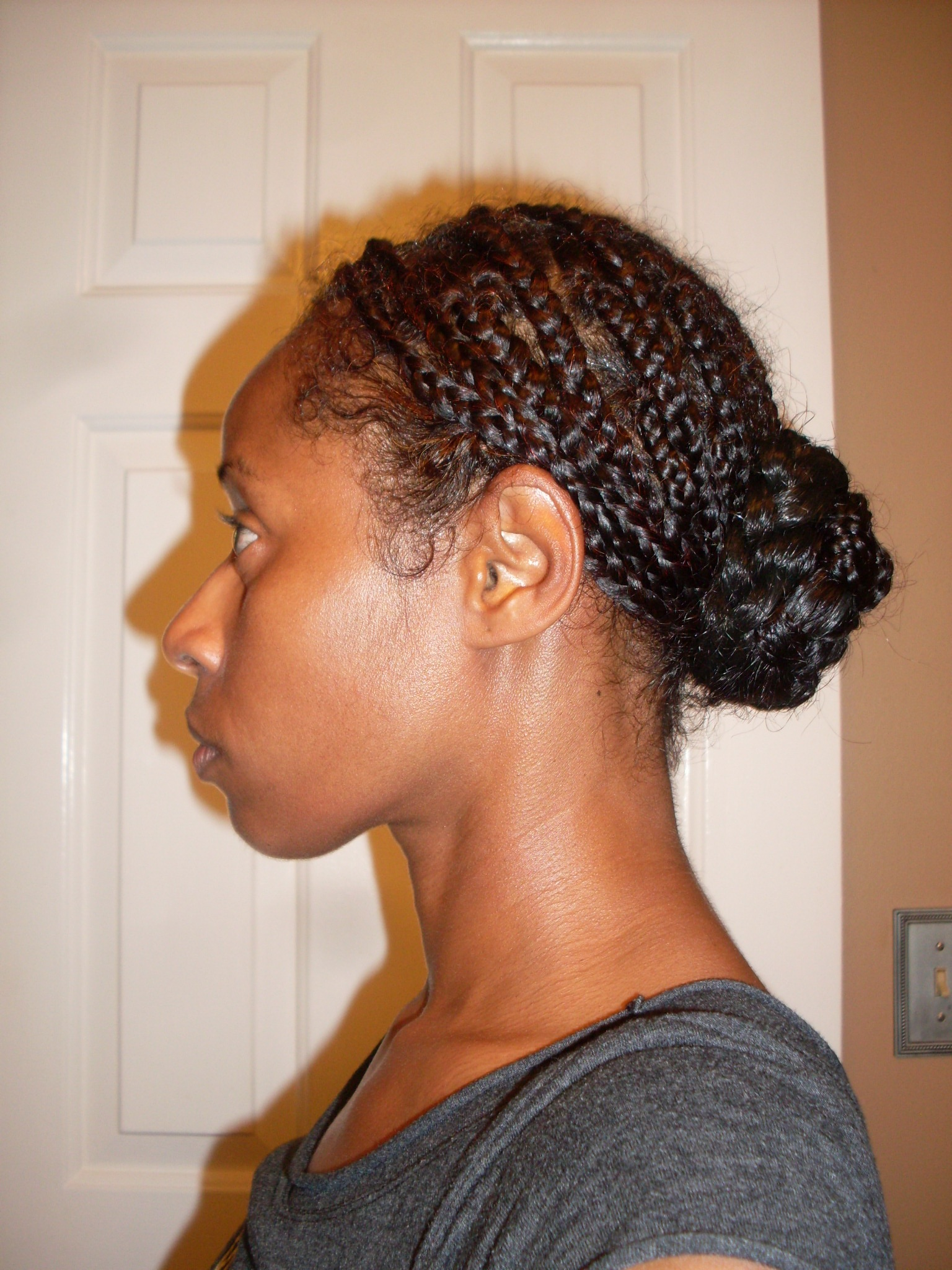 the gallery for gt box braids in a low bun