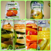 My baby food snacks. Aren't they so colorful?! These are new brands I'm trying.