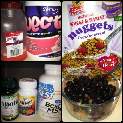 Top left: Nectar Strawberry Mousse protein (this is really good stuff! Mixes easily and tastes great!); Bottom left: My supplements; Right: My daily fortitude (Dole frozen blueberries are delish!).