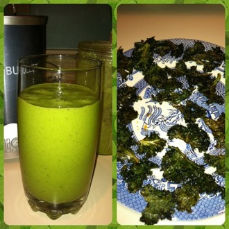 Kale, banana, dates and vanilla extract green smoothie; first ever homemade kale chips (too salty, but did a second batch w/o salt and they were good)!