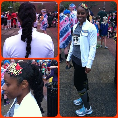 5K hair and outfit! Okay, this high/low ponytail is going to be a go-to style this year!!